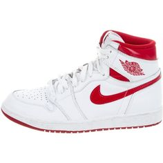 Pre-owned Nike Air Jordan 1 Retro High-Top Sneakers (465 RON) ❤ liked on Polyvore featuring men's fashion, men's shoes, men's sneakers, white, mens leather shoes, mens white sneakers, mens sneakers, mens high top shoes and mens leather sneakers