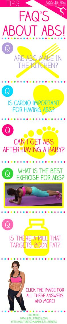 In this video, I share my most common questions (and answers) on abs such as how do I get them? Can I get abs after having a baby? Best Ab Workout, Ab Workouts, At Home Workouts, Exercises, Health And Wellness, Health Fitness, Extra Skin, How To Get Abs, Stability Ball