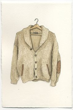 Mark Hall Patch's watercolors-Tundra Heavy Wool Sweater Cardigan