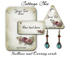 Tarjetas de encargo pendiente - joyería - Cottage Chic - pendiente tarjetas - tarjetas de presentación personalizado - diseño Vintage