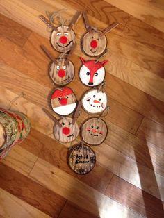 Wood slices ornaments Christmas fox reindeer Santa snowman snow