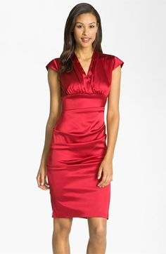 #nordstromweddings  Xscape Pleated Stretch Satin Sheath Dress available at #Nordstrom