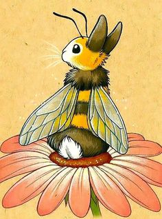 Cute Bunny Bee in Flower Tattoo Design - Amazing Lovely . - Cute Bunny Bee in Flower Tattoo Design – amazing lovely bunny bee sitting on the flower. Art Inspo, Kunst Inspo, Art And Illustration, Illustrations, Fantasy Kunst, Fantasy Art, Animal Drawings, Cute Drawings, Pencil Drawings
