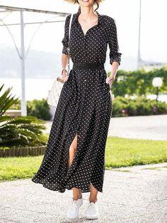 Stylish Vovo Polka-dot V-neck Long Sleeve Maxi Dress - Street Style Long Sleeve Maxi, Maxi Dress With Sleeves, Summer Dresses With Sleeves, Sexy Dresses, Fashion Dresses, Elegant Dresses, Blue Dresses, Maxi Robes, Long Shirt Dress