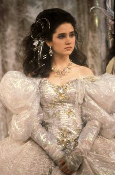 Sarah in Labyrinth. Iconic scene, iconic style. Beautiful dress. Love her hair!