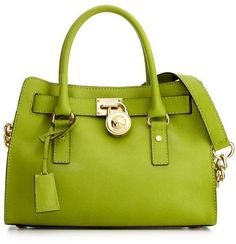 Michael Kors Hamilton Saffiano Leather Satchel in Green. I saw this in Macy's a couple of weeks ago and almost fainted. NEED.