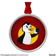 Cute penguin cartoon round metal christmas ornament