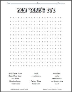 New Year's Eve Word Search Puzzle for Kids - Free Worksheet to Print