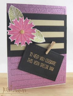 Create With Me: A sparkly birthday card using stamps from Waltzingmouse (Funky Flowers) and WPlus9 (Whole Lotta Happy)  I die cut the sparkly paper using a full die from Papertrey Ink - piecing in a section in black and tan.