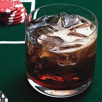 Black Jack  2 oz Jack Daniels  10 oz Vanilla Coke  Serve over ice .. hmm.. thinkin we might havta try this