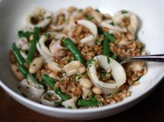 Craving this: Farro Salad with Squid, White Beans, and Green Beans