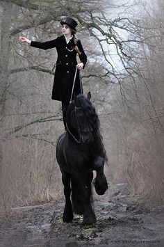 Equine Art, love it, Very trusting to stand on her horse while its on three legs!  ~ Gosia Makosa Photo