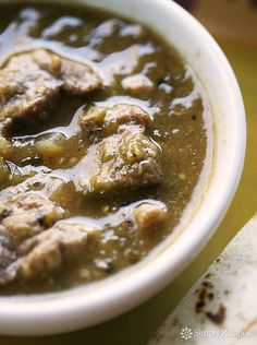 Chile Verde ~ Mexican pork chile verde recipe, with chunks of pork shoulder slow cooked in a roasted tomatillo and jalapeno chile verde sauce. ~ SimplyRecipes.com