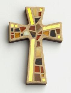 Pared de mosaico Cruz pequeños tonos de marrón oro espejo