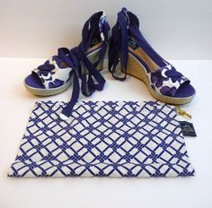 Milly for SperryTop-Sider New Espadrille Wedge Sandal Palm Beach Blue Floral 8.5 #MillyforSperryTopSider #PlatformsWedges #Any