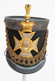 Light dragoon pattern shako and plume worn by Cornet C Cazenove, 6th Madras Light Cavalry, 1851 (c)