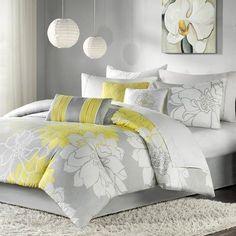 Amazon.com: Madison Park Lola 7pcs Set - Grey/Yellow - Queen: Bedding & Bath $135