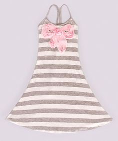 Loving this Gray & Creme Stripe Angie Dress - Toddler & Girls on #zulily! #zulilyfinds