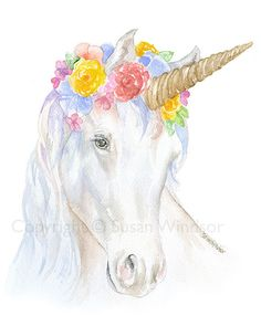 Unicorn with a Floral Crown is a giclée print reproduction of my original watercolor painting. Paper measures 11x14 and is in the portrait/vertical orientation. (Watermark will not appear on final print.) Printed on Hahnemühle Torchon 285 gsm Fine Art paper using archival pigment inks.