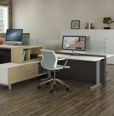 Seven is an adjustable desk with slim leg design and low profile foot. Pair with Zo storage for a balanced floorplan.