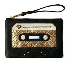 Amazon.com: Marylai Women's Maeve Mixtape Wristlet Black/Ivory/Gold: Marylai: Clothing