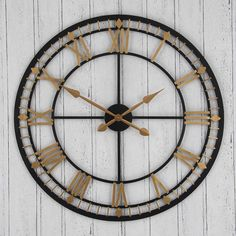 Large cut out metal wall clock with an antique gold and bronze, antique gold or antique silver finish. Circular, with Roman numerals and black hour and minute hands. Easy to read, decorative vintage style clock. Skeleton Wall Clock, Metal Clock, Antique Metal, Or Antique, Antique Silver, Metal Walls, Metal Wall Art, Big Wall Clocks, Clock Wall