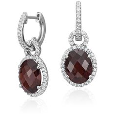 Blue Nile Garnet and White Sapphire Halo Oval Drop Earrings (715 CAD) ❤ liked on Polyvore featuring jewelry, earrings, white sapphire drop earrings, garnet drop earrings, earring jewelry, round drop earrings and round earrings