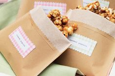 kids party food idea caramel corn bags