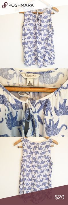 Blue and White Elephant Print Tank Tank with front tie at neckline. Sonoma Tops