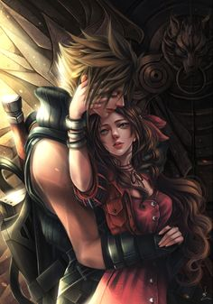 One couple - FF7 Fanart, Linh Linh on ArtStation at https://www.artstation.com/artwork/KRKr4