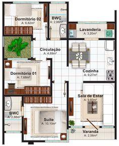 5 Modelos de plantas de casas com suíte e área total até 70m²