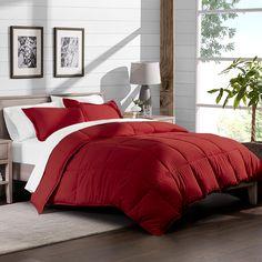 Ebern Designs Geng Down Alternative Comforter Set Colour: Red, Size: Twin/Twin XL Comforter + 1 Sham Red Comforter, Down Comforter, King Pillows, Queen Comforter Sets, Dorm Bedding Sets, Bedding Master Bedroom, Dream Bedroom, Bed In A Bag, Bedding Basics