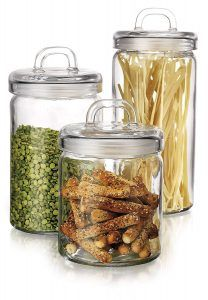 HC Elegant Home Loop Canister Set of Set of 3 Clear Glass