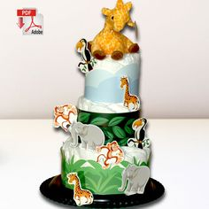 LET'S TALK TO THE ANIMALS Diaper Cake Template