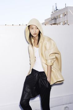 Resort 2015 - Barbara Bui Neoprene hoodie, drop crotch silk pants.  Top 5 Resort 2015 collections!