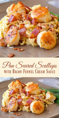 Pan Seared Scallops with Bacon Fennel Cream Sauce - The most popular pan seared scallops recipe ever on Rock Recipes. Folks just love the luscious bacon cream sauce. A terrific, easy dinner party recipe or just as a great romantic dinner for two. by young Rock Recipes, Fish Recipes, Seafood Recipes, Cooking Recipes, Healthy Recipes, Healthy Scallop Recipes, Recipes For Two, Cooking Tips, Bacon Recipes For Dinner