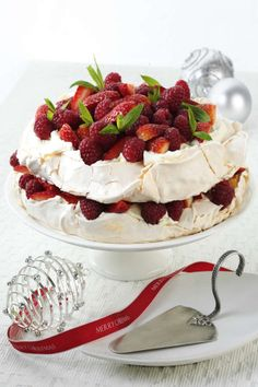 Aussie Pavlova Layer Cake with Red Berries   #recipe #EggsEasyAs oh if I could have a lower sugar one!