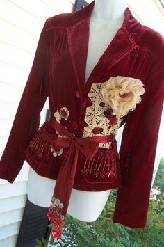 Upcycled Jacket Blazer Shabby Altered Embellished Refashioned Rasberry Burgandy Velvet Size 8/10 on Etsy, $115.00