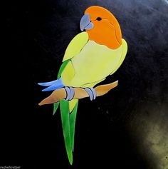 SUN CONURE PARROT Precut Stained Glass Inlay Kit. Many original designs selling on ebay.