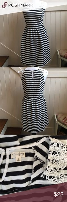 """EUC Maison Jules Striped Dress Black and white striped dress with white lace cap sleeves medium weight dress with hidden side pockets and elastic waistband cotton and poly blend dress 36"""" length 18.5"""" armpit to armpit Maison Jules Dresses"""