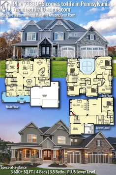 Exclusive Craftsman House Plan With Amazing Great Room - Architectural Designs Exclusive House Plan client-built in Pennsylvania Sims House Plans, Dream House Plans, House Floor Plans, 4000 Sq Ft House Plans, Floor Plans 2 Story, Two Story House Plans, European House Plans, Country House Plans, Br House