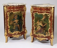 "Pair of very fine early 19th century French Louis XV style marble top encoignures, the corner shaped base of foliate dore' bronze ormolu mounted mahogany, with a single central door, opening to one shelf, hand painted with scenes of cherubs and allegorical figures, 41""h x 27""w x 21""d."