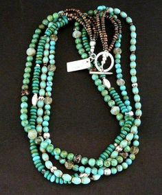 Our 4-Strand Turquoise and Czech Glass Necklace is ideal for someone seeking a classic Southwestern piece of Jewelry. It combines Turquoise beads with an eclectic mixture of Czech Glass and Sterling S