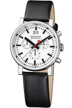 online shopping for Mondaine EVO Big Date White Dial, Black Leather Strap from top store. See new offer for Mondaine EVO Big Date White Dial, Black Leather Strap Black Leather Watch, Mens Watches Leather, Elegant Watches, Beautiful Watches, Amazing Watches, Big Watches, Watches For Men, Camera Watch, Watch Sale