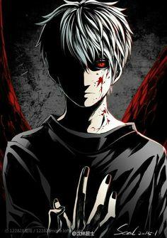 Kaneki Ken, white hair, ghoul, kagune, blood; Tokyo Ghoul