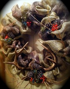 Burlap and Camo  with Deer Horns by CharlaGriffinDesigns on Etsy, $120.00
