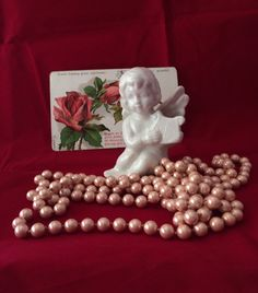 Vintage Porcelain Cherub Figurine cupid by MyVintageApartment Harp, Cherub, Cupid, Cake Toppers, Centerpieces, Porcelain, Angel, Romantic, Pink