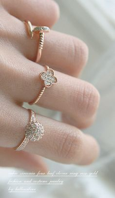 Gorgeous!! Rose Gold Clover Diamond Ring in Sterling Silver from Kellinsilver.com