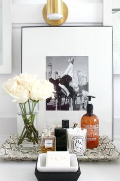 Monogrammed soaps from Frontgate and bathroom styling by Kristin Cadwallader of Bliss at Home