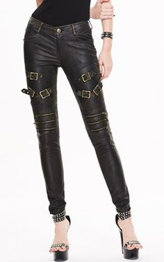 Devil Fashion Faux Leather Steampunk Clothing Thunder Trousers